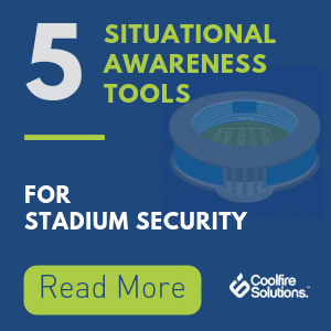 Infographic displaying 5 examples of situational awareness for stadium security teams