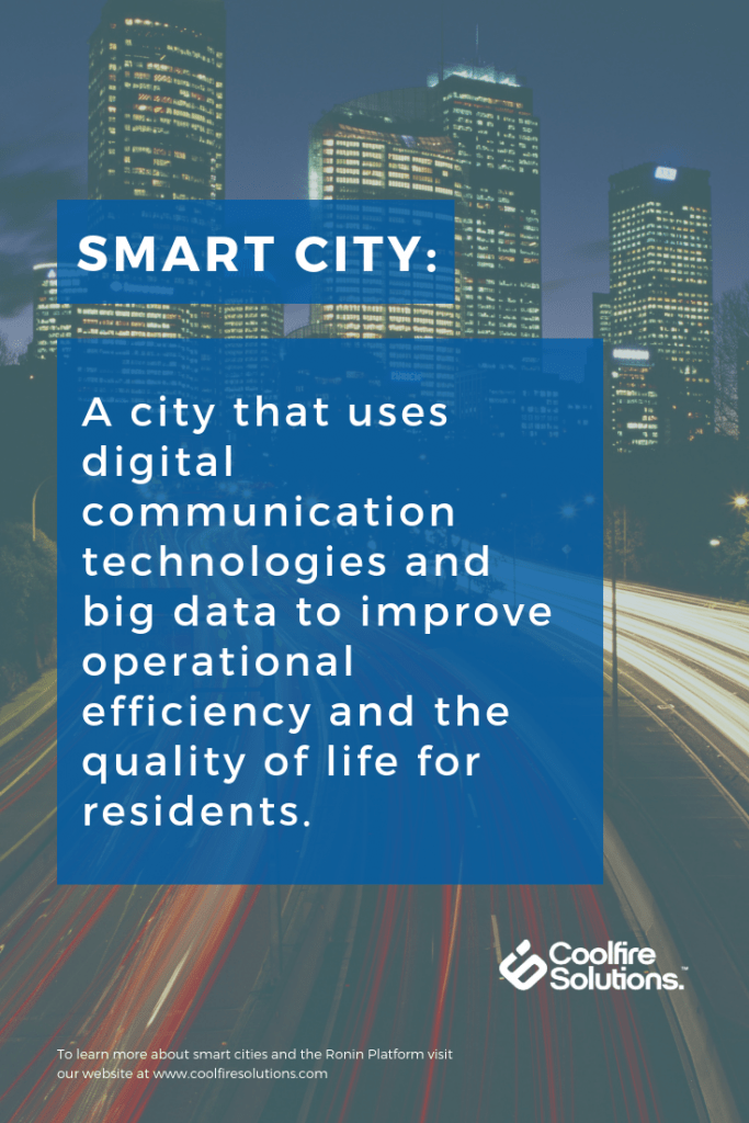 definition of a smart city on a cityscape